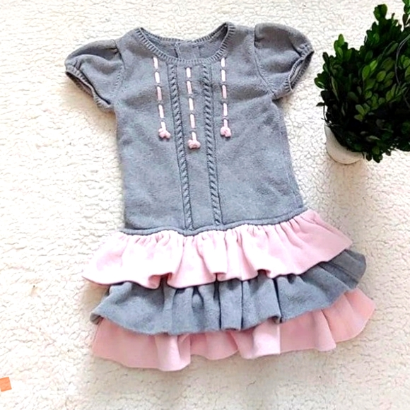 GYMBOREE girl's grey and pink dress with ruffles 5